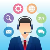 Ilustração de serviço do mundo de Call Center de personagem vetor