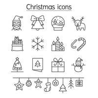 ícone de natal definido em estilo de linha fina