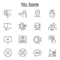 não, reprovar e rejeitar ícone definido em estilo de linha fina