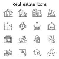 ícone imobiliário definido em estilo de linha fina vetor