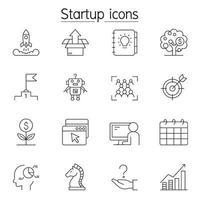 ícones de inicialização definidos em estilo de linha fina vetor