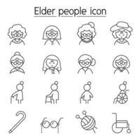 mulher mais velha, ícone de avó definido em estilo de linha fina vetor
