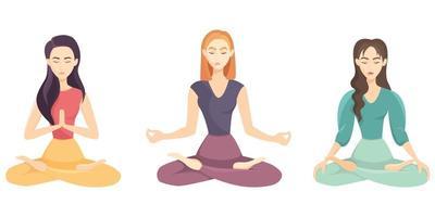 mulheres fazendo conjunto de ioga vetor
