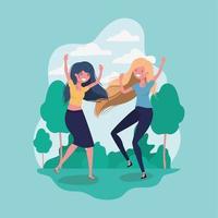 amizade com meninas desenho animado vetor