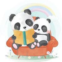 ilustração de pai e filho panda fofo vetor