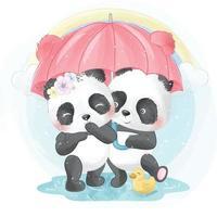 ilustração de casal panda fofo vetor