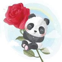 Ilustração do panda fofo sentado sobre uma rosa vetor