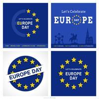 Conjunto de cartões de vetor do dia da Europa