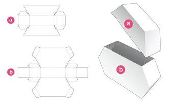 caixa hexagonal de estanho e molde recortado da tampa vetor