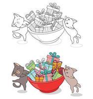gatos estão levantando uma grande tigela de desenho para colorir para crianças vetor