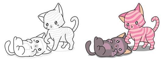 O gato Kawaii está cuidando da página para colorir dos desenhos animados do amigo para crianças vetor