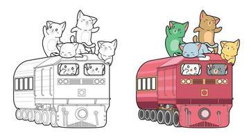 gatos na página de desenho animado da locomotiva para crianças
