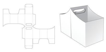 Recipiente de lanche duplo curvo com modelo de alça cortada vetor