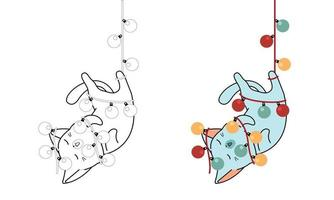 gato está pendurado com desenho de fio elétrico facilmente para colorir página para crianças vetor