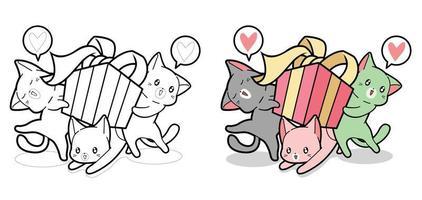 os gatos Kawaii estão segurando uma caixa de presente para colorir desenhos animados para crianças vetor