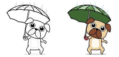 cachorro kawaii está segurando uma página para colorir desenho de guarda-chuva para crianças vetor