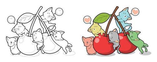 gatos bonitos e desenhos de cereja para colorir para crianças vetor