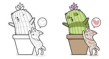 Página para colorir de desenho animado de gato fofo e panda cuctus para crianças vetor