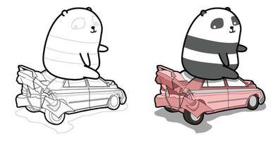 página para colorir desenho animado de panda gigante e carro quebrado para crianças
