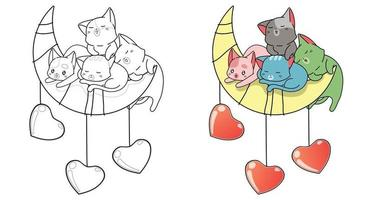 gatos bonitos e com a página para colorir dos desenhos animados da lua e dos corações para crianças vetor