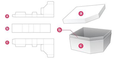 caixa de presente de canto chanfrado com modelo de tampa cortada