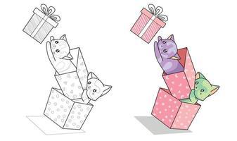 gatos em caixa e desenho de caixa de presente para colorir facilmente para crianças vetor