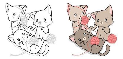 página para colorir de três gatos travessos para crianças