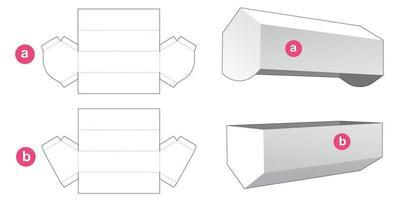 embalagem longa hexagonal com molde de tampa cortada vetor