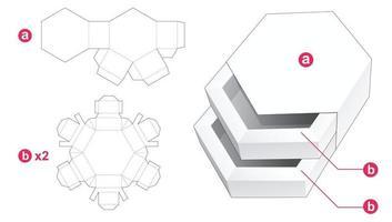 Gaveta hexagonal dupla com molde de tampa cortada vetor