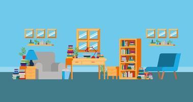 sala de estudo em casa com design de livros vetor