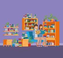 sala de estudo em casa com design de livros