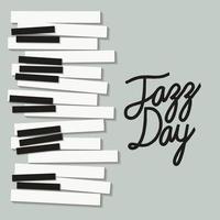 pôster do dia do jazz com teclado de piano vetor