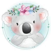 urso coala fofo com ilustração floral vetor