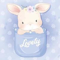 Ilustração de coelhinha sentada dentro do bolso