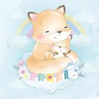 ilustração de mãe e bebê fofa vetor