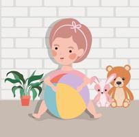 garotinha com bola e brinquedos de pelúcia vetor