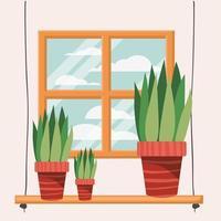 plantas de casa em uma prateleira perto da janela vetor