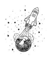 desenho de lançamento de foguete desenhado à mão vetor