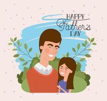 cartão de feliz dia dos pais com pai e filha