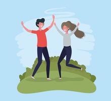 jovem casal pulando comemorando no parque personagens