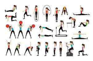 conjunto de mulher fazendo exercícios vetor