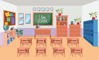 sala de aula com cena de quadro-negro vetor