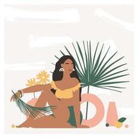 linda mulher boêmia sentada no chão em um interior moderno com vasos e folhas de palmeira. clima de férias de verão, impressão de arte boho chic, terracota. ilustração vetorial plana em cores pastel quentes. vetor