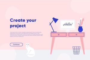 crie a página de destino do seu projeto. local de trabalho freelancer, mesa com computador, lâmpada e planta. ilustração vetorial plana. vetor