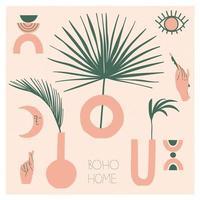 coleção de vasos boêmios e decoração moderna para o lar. boho chic, cerâmica moderna, ramos de palmeira. ilustração em vetor plana para cartão postal ou adesivos.