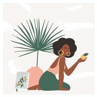 linda mulher boêmia sentada no chão em um interior moderno com vaso e folha de palmeira. clima de férias de verão, impressão de arte boho chic, terracota. ilustração vetorial plana em cores pastel quentes. vetor