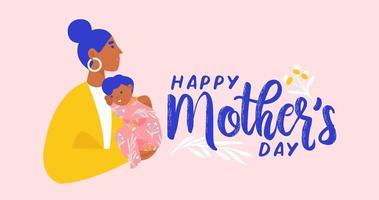 mãe segurando seu filho. cartão postal do dia das mães feliz, banner, boletim informativo. ilustração vetorial plana.