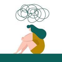 mulher deprimida sentada no chão sob a nuvem bagunçada. ilustração do conceito de tristeza e melancolia. vetor