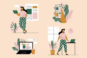 jovem mulher com laptop e smartphone. conjunto de 4 ilustrações. ilustração vetorial em estilo simples. vetor