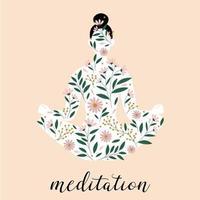 silhueta da mulher sentada em pose de meditação. silhueta pose de lótus. estampa floral. vetor